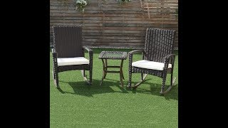 3 pcs patio rattan wicker rocking chairs coffee table furniture set including 2 cushioned rocking