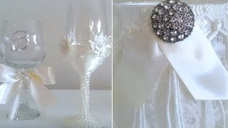 DIY| BRIDES CHAMPAGNE GLASSES, AND A VICTORIAN STYLE CANDLE HOLDER/ WEDDING DECOR