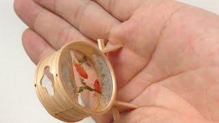 曲げわっぱの金魚鉢をミニチュアで作ってみた。 thumbnail