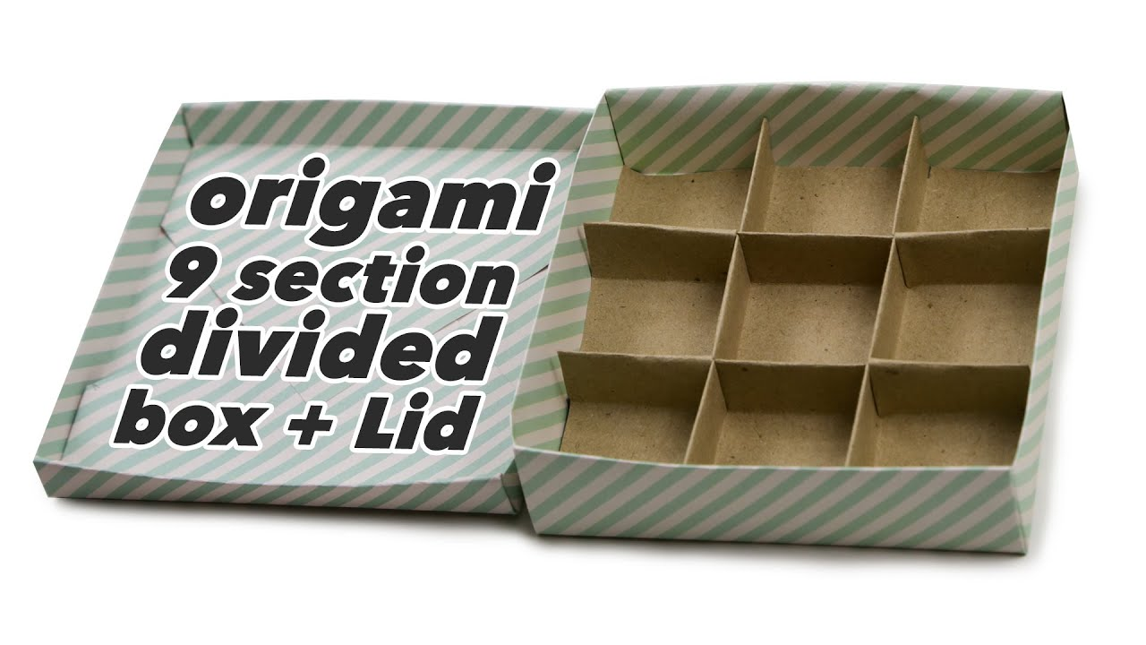 Origami 9 Section Box Divider Lid Tutorial DIY Paper Kawaii