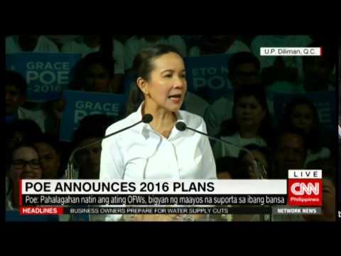 Sen. Grace Poe announces running for president