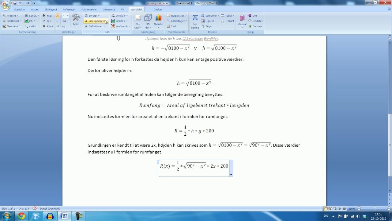 Skriftlig eksamen Mat B - 15. August 2012 Opgave 14