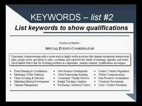 resume keywords youtube