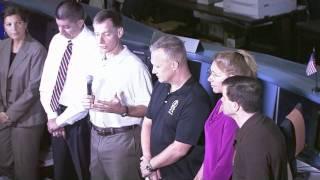 STS-135 Crew Meet Media at Johnson