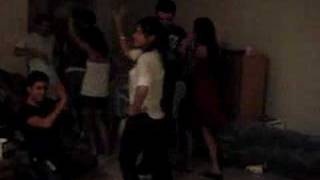 Dancing Valle at my Bday Party lol  (The Roof's on fire lol)