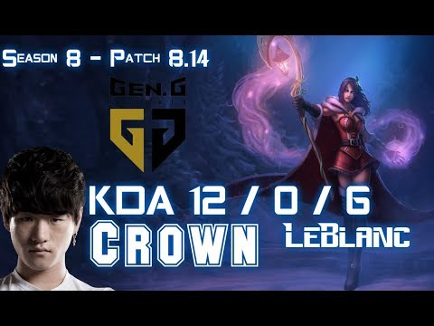 GEN Crown LEBLANC vs Faker ZOE Mid - Patch 8.14 KR Ranked
