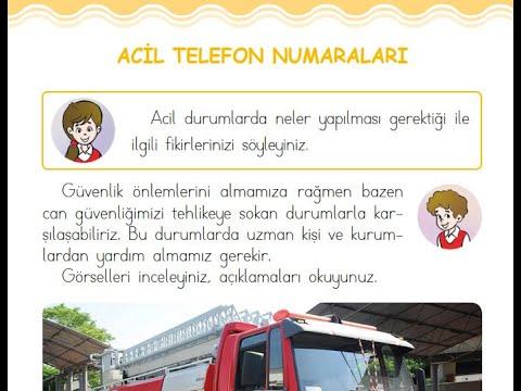 Acil Telefon Numaraları - 1. Sınıf Hayat Bilgisi Ders Kitabı 4. Ünite Sayfa 137