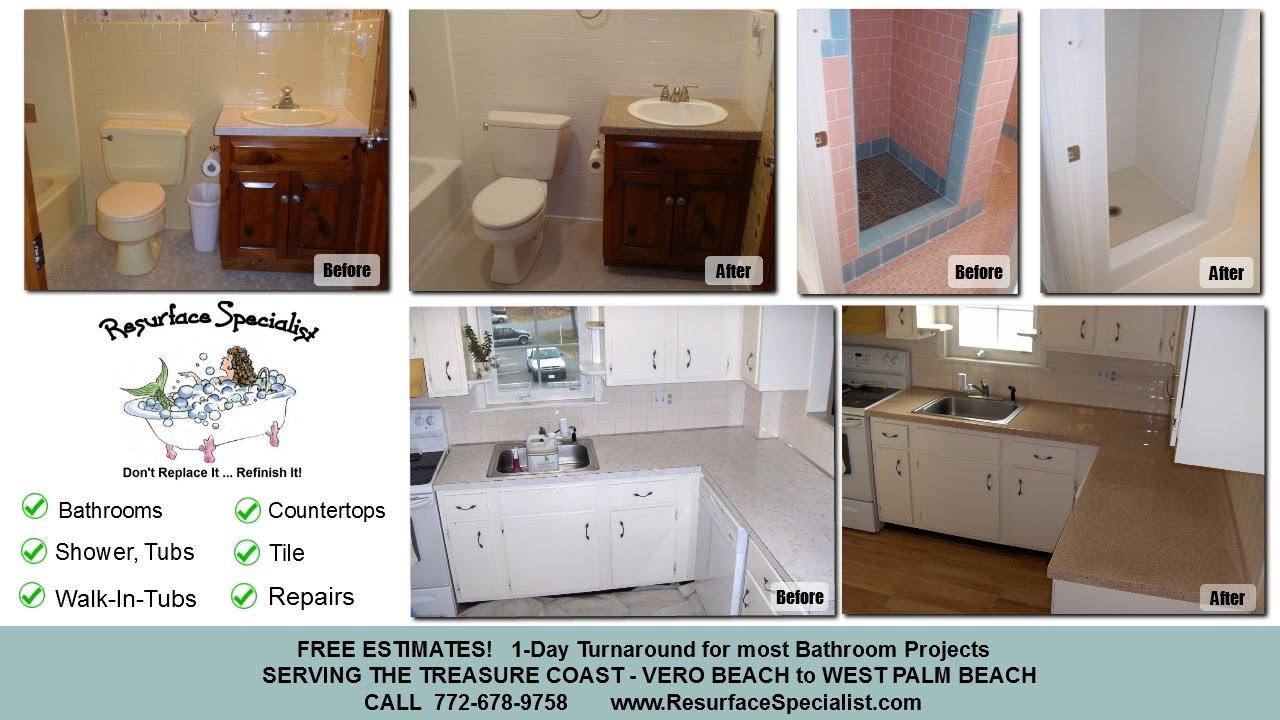 Bathtub and Countertop Resurface Repair - Stuart FL - YouTube