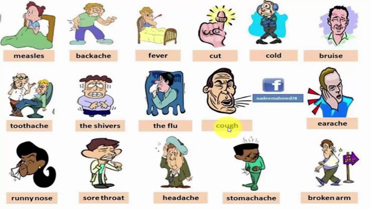 تعلم الانجليزية بالصوت والصورة امراض والام Youtube