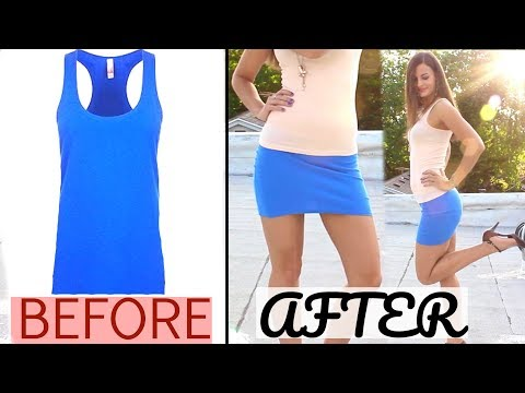 How to make a Sexy DIY Mini Skirt! Thrift Store Women's Tank Tops Skirt Designs! Clothing Life Hack