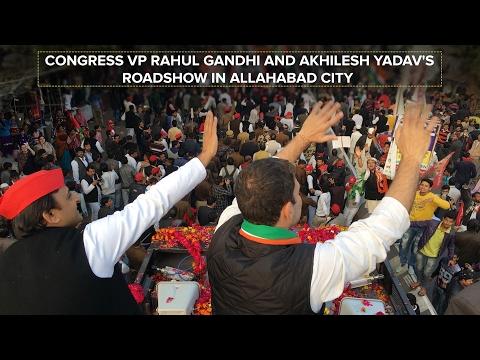 Congress VP Rahul Gandhi and Akhilesh Yadav's Roadshow in Allahabad City