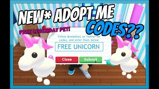 *NEW* ADOPT ME CODES! (ALL WORKING) *FREE PET UNICORN* [Roblox]