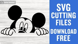 Mickey Mouse Peeking Svg Free Cutting Files for Silhouette Cameo Instant Download