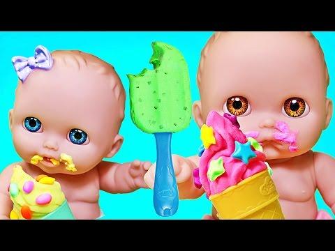 Куклы Пупсики кушают мороженное из пластилина Плей До. Беби Элайв лепит. Игры для девочек. Зырики ТВ