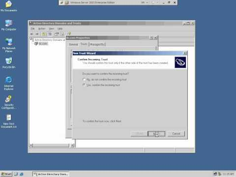 Creating trust with two domain on server 2008