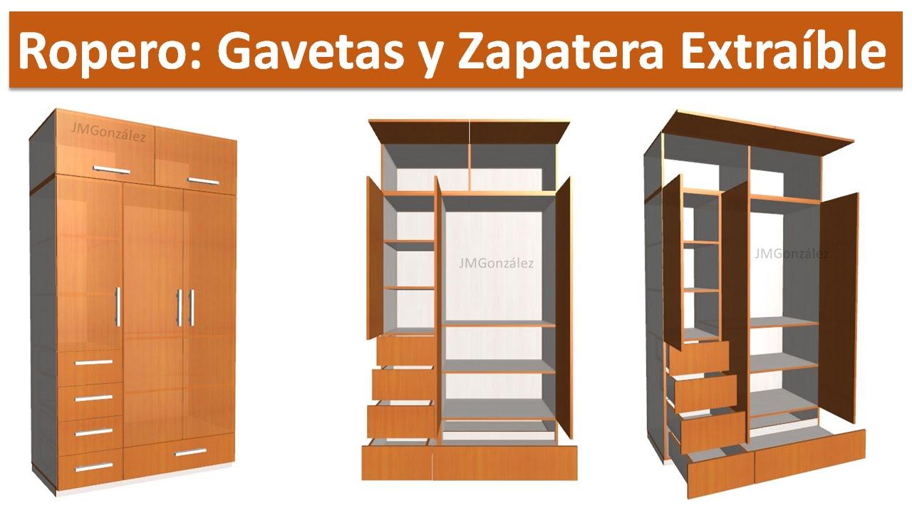 Ropero con gavetas y zapatera extraible planos y dise o for Planos de roperos de madera