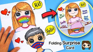 How to Make a  Show Your Smile Behind Your Mask  Folding Surprise Card
