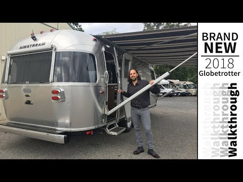 Walk Through 2018 Airstream Globetrotter 27FBQ Front Bedroom Queen Modern Travel Trailer