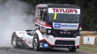 1200HP V8 Turbo Diesel MAN Racing Truck on Hillclimb! - FLATOUT at Goodwood FOS!