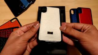iPhone X Gold Black Leather Case Unico White