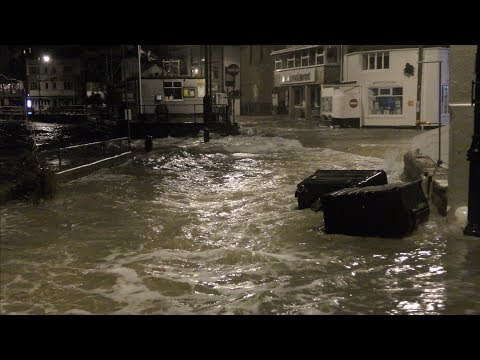 STORM ELEANOR AT HIGH TIDE, St IVES 3 JANUARY 2018