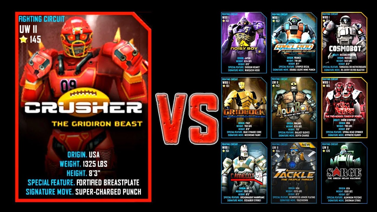 Real Steel WRB CRUSHER Series of fights NEW ROBOT    YouTube