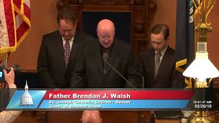 Sen. Hune welcomes Father Walsh to the Michigan Senate to deliver the invocation