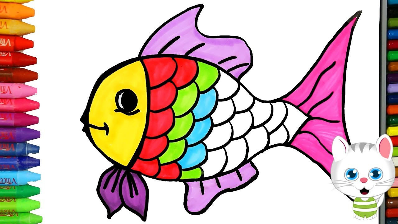 Cara Menggambar Ikan Berwarna Warni Dengan MiMi Cara Menggambar Dan Mewarnai TV Anak