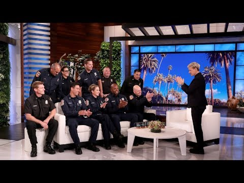 Ellen Welcomes Ten California Firefighters