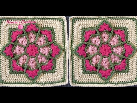 CROCHET: Cuadro Vitral Florido (Stained Glass Square)