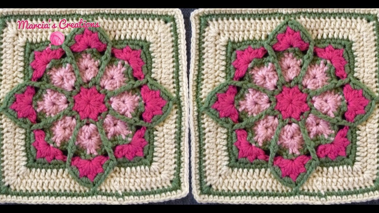 CROCHET: Cuadro Vitral Florido (Stained Glass Square) - YouTube