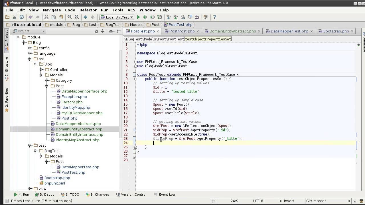 Zend framework 2 1 tutorial 9 unit testing domain entity