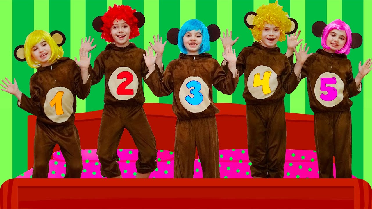 Five Little Monkeys Jumping on the Bed | Nick and Poli - Nursery Rhymes & Kids Songs