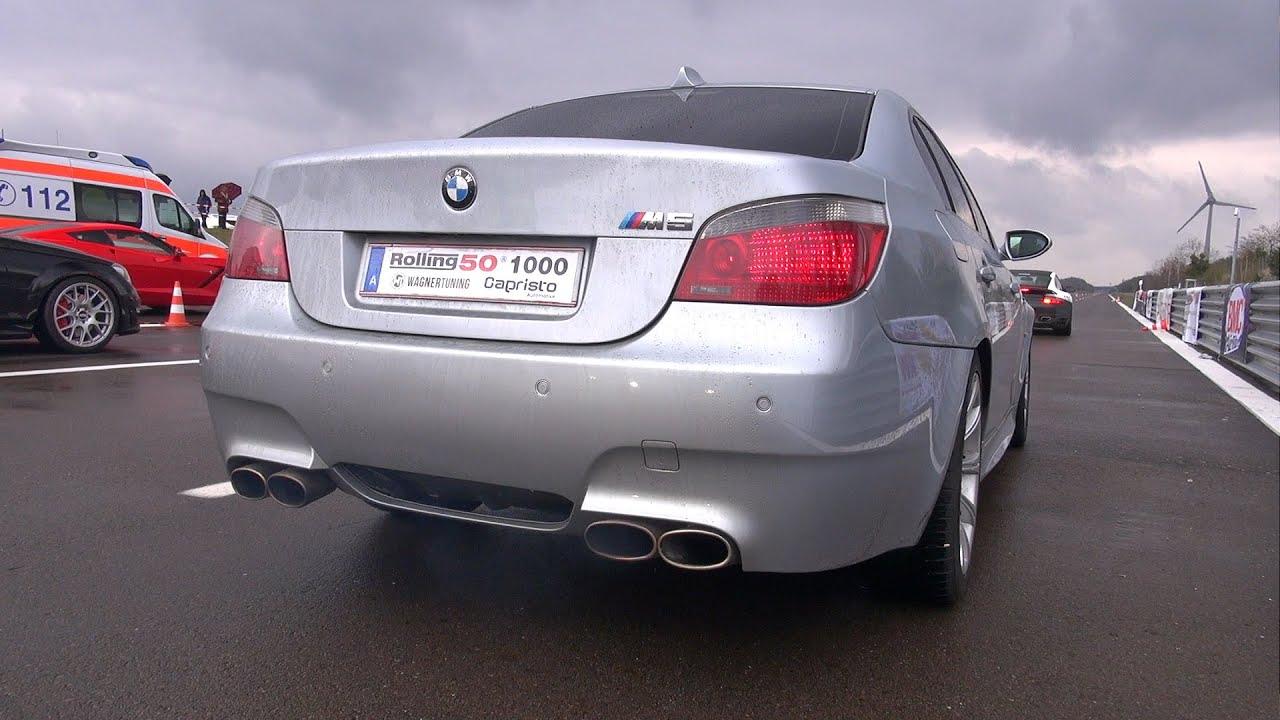 Bmw m5 v10 w eisenmann race exhaust loud revs accelerations youtube