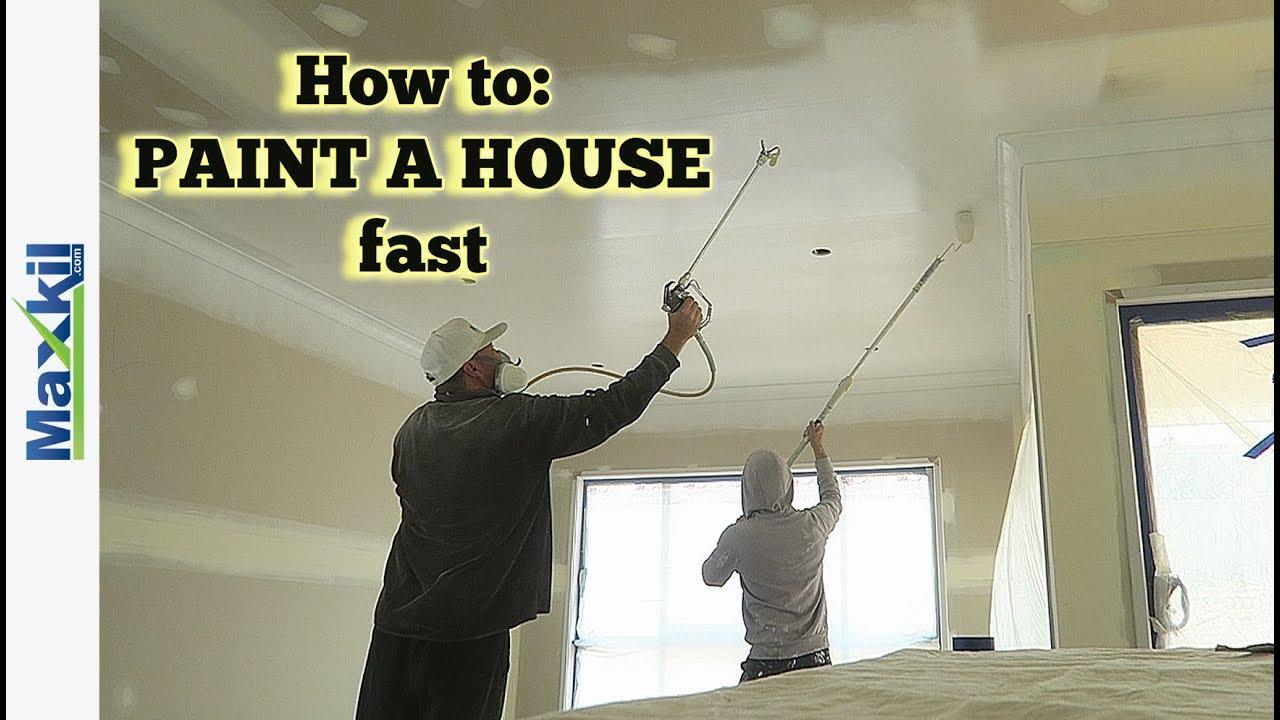 Exceptional How To Paint A Ceiling With A Spray Gun Part - 7: How To Paint A House Fast With An Airless Spray Gun