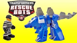 Rescue Bots Optimus and Chase Dinobot Catch a Bank Robber!
