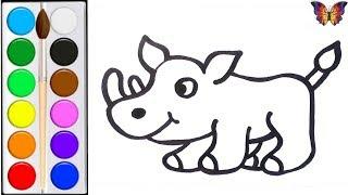 Как нарисовать НОСОРОГА /  мультик раскраска НОСОРОГ  для детей / Раскраски малышам