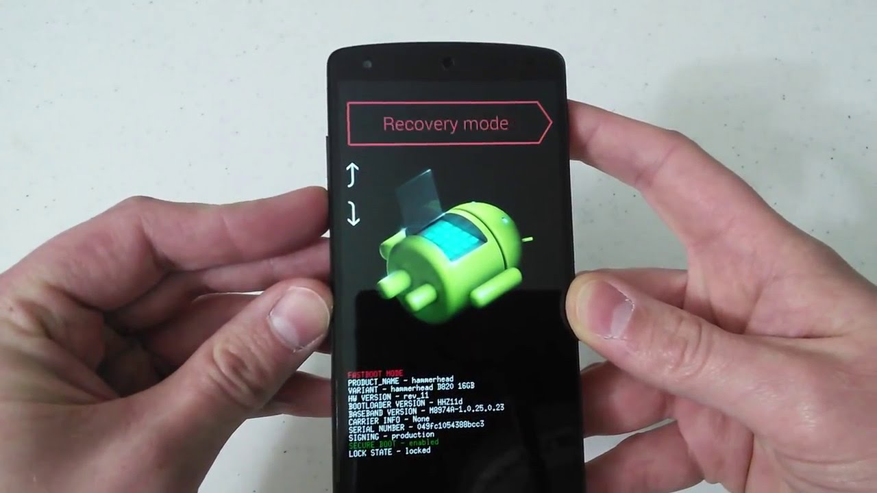 Nexus 5 Hard Factory Reset Fastboot Bootloader Recovery