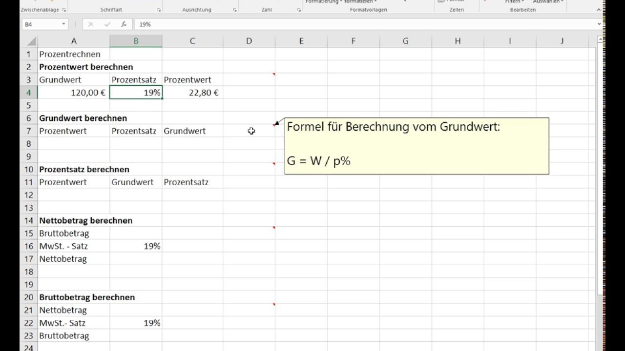 Microsoft Excel 2016 Prozentrechnen Sowie Mwst Berechnung Youtube