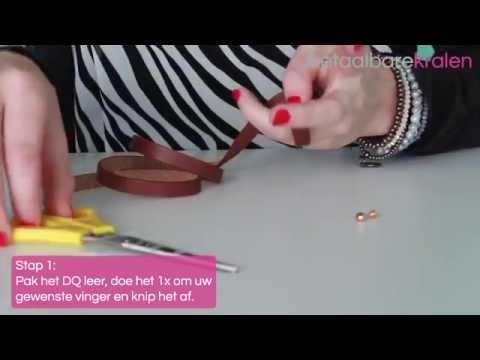 Sieraden maken: Hoe maak je een ring met leer en een DQ metalen pin met platte zijde ♡ DIY
