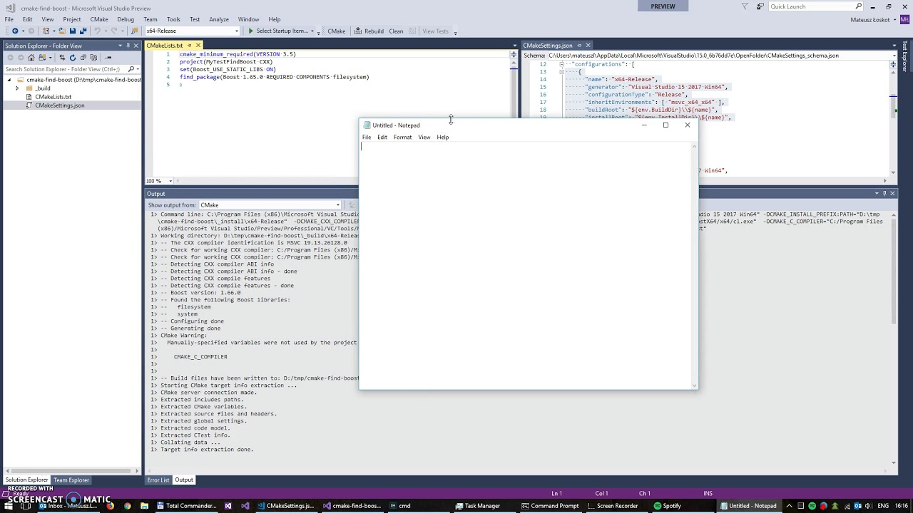 [VS2017] Find Boost issue when using vcpkg with CMake toolchain