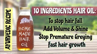 Homemade Hair Oil DIY | For hair growth and reduce hair fall and greying, get soft and shiny hair