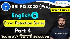 3:00 PM - SBI PO 2020 (Prelims) | English by Vishal Sir | Error Detection Series (Part-4)