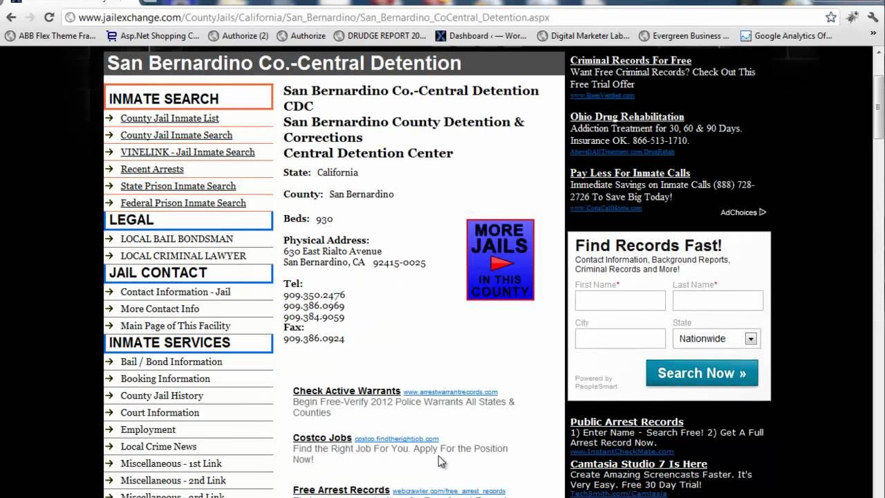 San bernardino county inmate search jail lockup info youtube publicscrutiny Choice Image