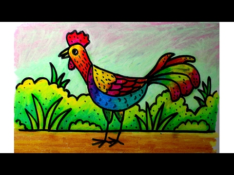 Cara Menggambar Dengan Krayon Oil Pastel Untuk Anak Sd Ayam Jago