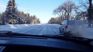Morden Winkler Highway after Blizzard. Snowy Manitoba - Dec 26, 2016