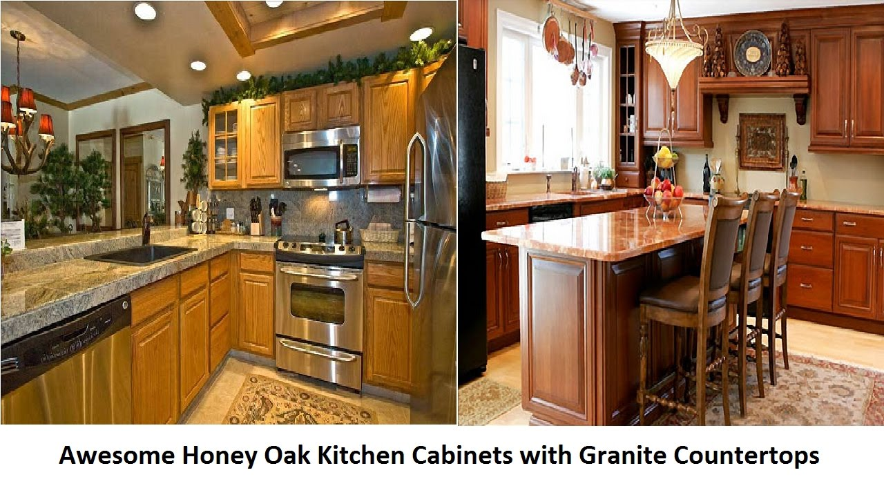 awesome honey oak kitchen cabinets with granite countertops - youtube