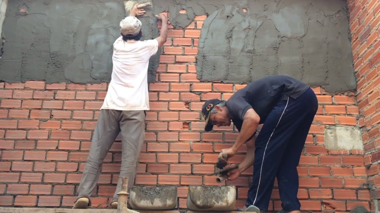 Render A Brick Wall  Sand And Cement Construction