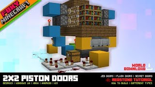 2x2 Piston Doors + Jeb Doors | Minecraft Bedrock Edition Tutorial (MCBE / MCPE)