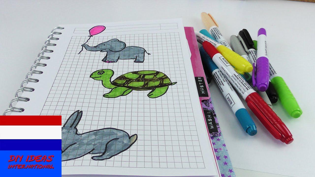in notitieboek tekenen nieuwe tekeningen maken haas